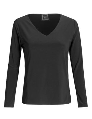 Lili black v-neck top - front view